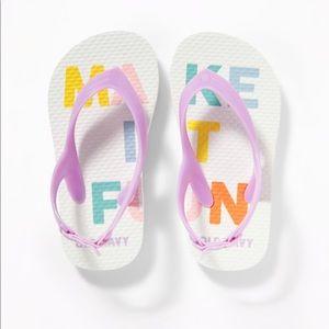"NWT Old Navy ""Make It Fun"" Flip Flops Size 8"